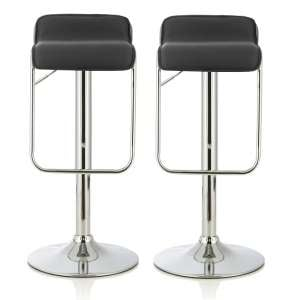 Mestler Modern Bar Stool In Black Faux Leather In A Pair