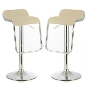 Mestler Modern Bar Stool In Cream Faux Leather In A Pair