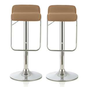 Mestler Modern Bar Stool In Taupe Faux Leather In A Pair