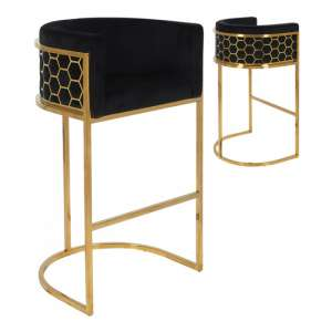 Meta Black Velvet Bar Stools In Pair With Gold Legs