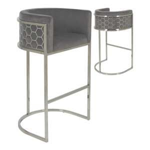Meta Grey Velvet Bar Stools In Pair With Silver Legs