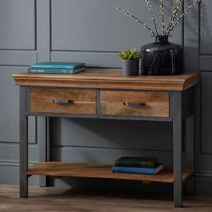 Metapoly Industrial Console Table In Acacia With 2 Drawers