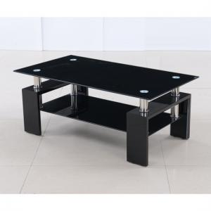Kontrast Coffee Table In Black Glass With High Gloss Legs
