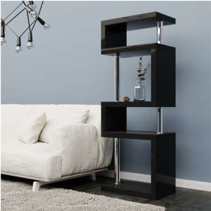 Miami Black Slim Shelving Unit In High Gloss