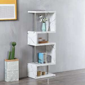 Miami High Gloss White Shelving Unit In Vida Marble Effect