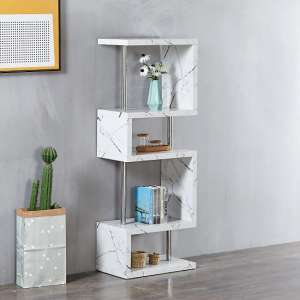 Miami Shelving Unit In Glossy White Marble Finish