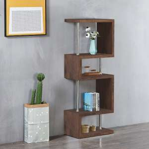Miami Wooden Slim Shelving Unit In Walnut