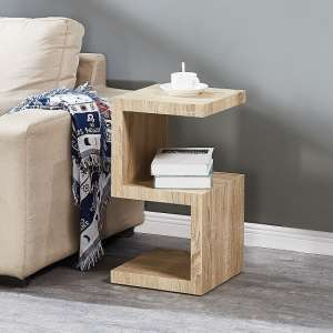 Miami Wooden Contemporary S Shape Side Table In Oak Effect