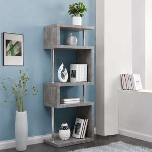Miami Slim Wooden Shelving Unit In Concrete Effect