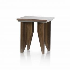 Michigan Wooden Lamp Table Sqaure In Walnut And Grey