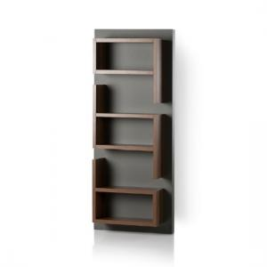 Michigan Wall Mounted Shelving Unit In Walnut And Grey