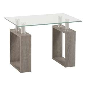 Milan Lamp Table In Light Charcoal With Clear Glass Top