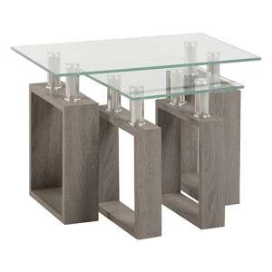 Milan Nest of Tables In Light Charcoal With Clear Glass Top