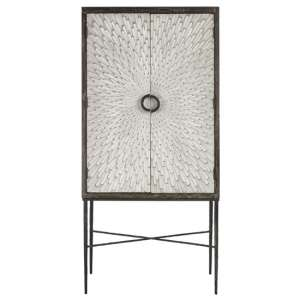 Jabbah Wooden Wine Cabinet In Grey