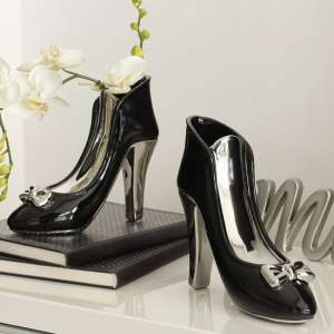 Milano Ceramic Set Of 2 High Heel Vases In Black And Silver