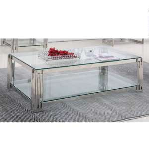 Milano Clear Glass Coffee Table With Silver Stainless Steel Legs