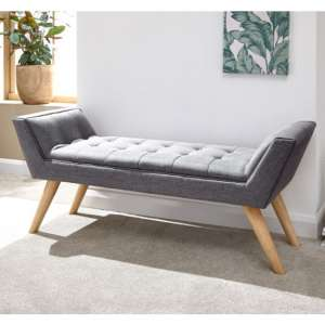 Milanos Fabric Upholstered Window Seat Bench In Dark Grey