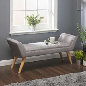 Milanos Fabric Upholstered Window Seat Bench In Grey