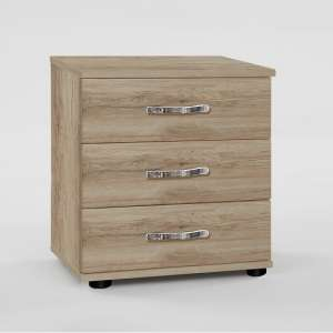 Milden Wooden Bedside Cabinet In Sanremo Oak With 3 Drawers