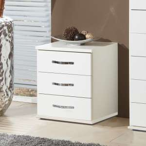 Milden Wooden Bedside Cabinet In White With 3 Drawers
