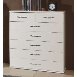Milden Wooden Chest Of Drawers Wide In White And 7 Drawers