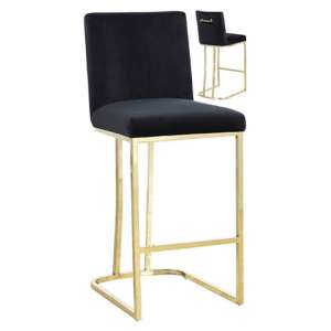 Milo Black Velvet Bar Stool In Pair With Gold Steel Base