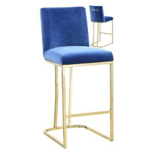 Milo Blue Velvet Bar Stool In Pair With Gold Steel Base