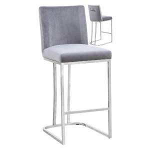 Milo Grey Velvet Bar Stool In Pair With Silver Steel Base