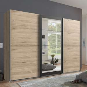 Minden Sliding Door Wide Wardrobe In Hickory Oak And Graphite