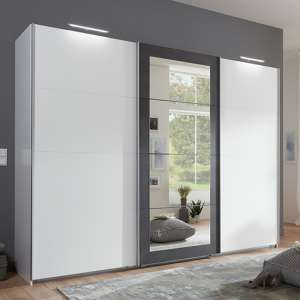 Minden Sliding Door Wooden Wide Wardrobe In White And Graphite