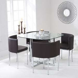Mingo Glass Stowaway Dining Set In Clear With 4 Brown Chairs