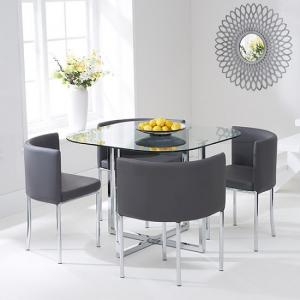 Mingo Glass Stowaway Dining Set In Clear With 4 Grey Chairs