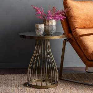 Minnesota Round Glass Side Table With Bronze Frame