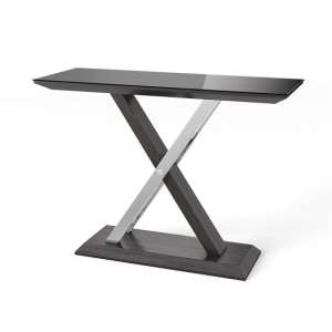 Minsk Glass Console Table In Black And Grey Walnut