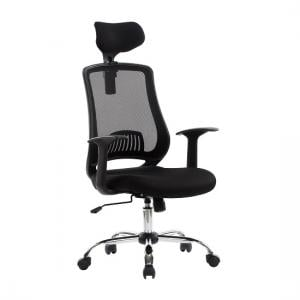 Minsk Home Office Chair In Black Mesh With Fabric Seat