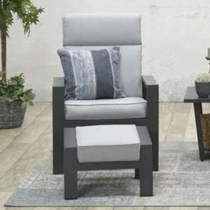 Mintly Reclining Armchair With Footstool In Carbon Black