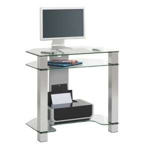 Mirabelle Glass Computer Desk With White Metal Frame