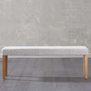 Miram Large Grey Soft Fabric Dining Bench With Solid Oak Legs