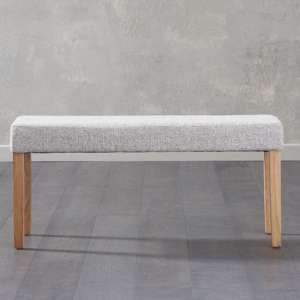 Miram Small Grey Soft Fabric Dining Bench With Solid Oak Legs