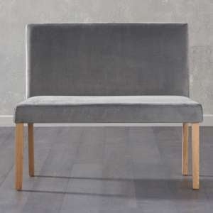 Miram Small Plush Grey Sof Fabric Dining Bench With Back