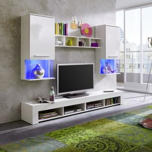 Miranda Living Room Set In White And Gloss Fronts With LED