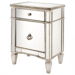 Solitaire Mirrored Bedside Cabinet With Rustic Metal Work