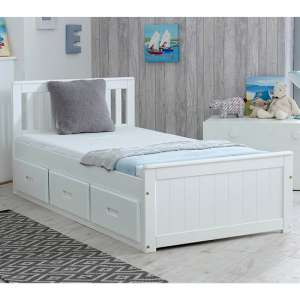 Mission Storage Single Bed In White With 3 Drawers