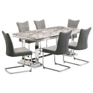 Mitzi Grey Marble Dining Set With 6 Grey Velvet Chairs