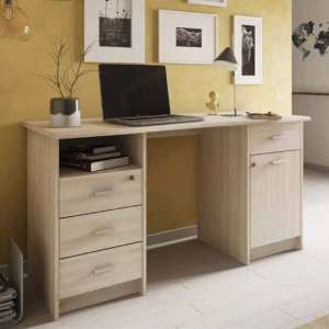 Mizar Wooden Computer Desk In Shannon Oak With 1 Door 4 Drawers