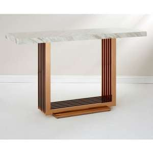 Modeno White Marble Console Table With Rose Gold Base