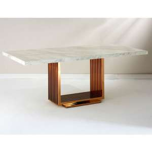Modeno White Marble Dining Table With Rose Gold Base