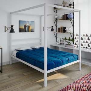 Modern Metal Canopy Double Bed In White