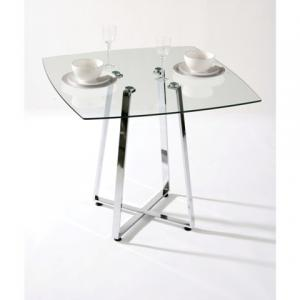 Melito Square Glass Dining Table In Clear With Chrome Base