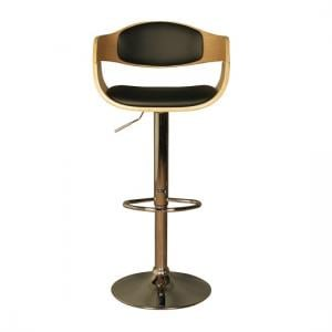 Molte Bar Stool In Black Faux Leather And Oak With Chrome Base